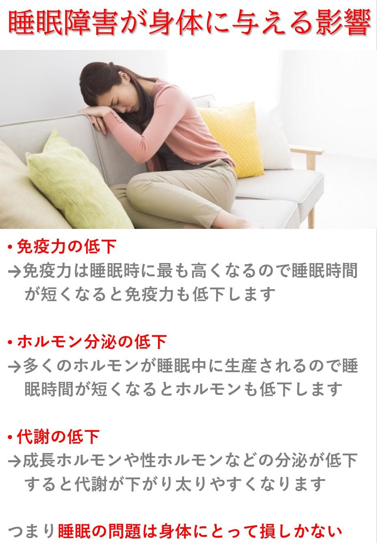 不眠による身体への影響