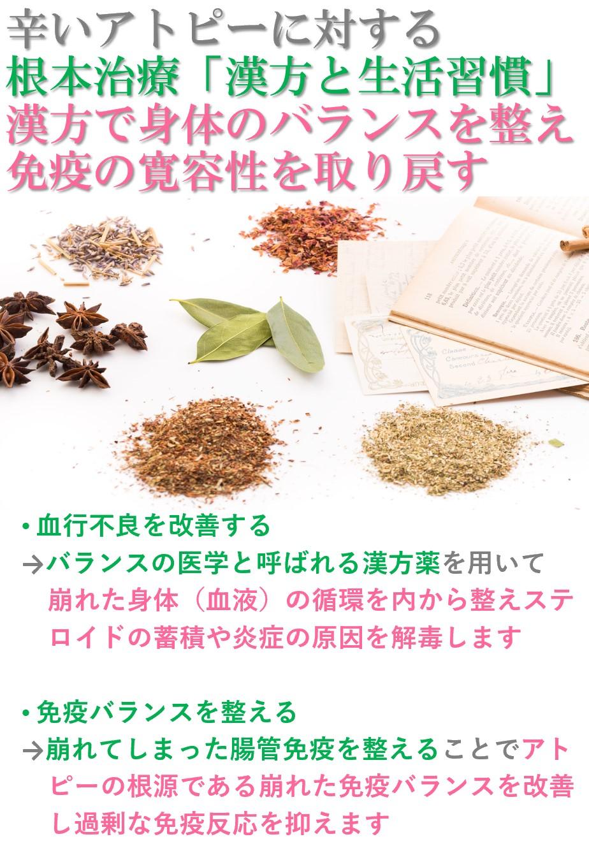 アトピーを治すには西洋医学でつらい症状を抑え、漢方東洋医学で免疫のバランスを整えていく両立が必要。