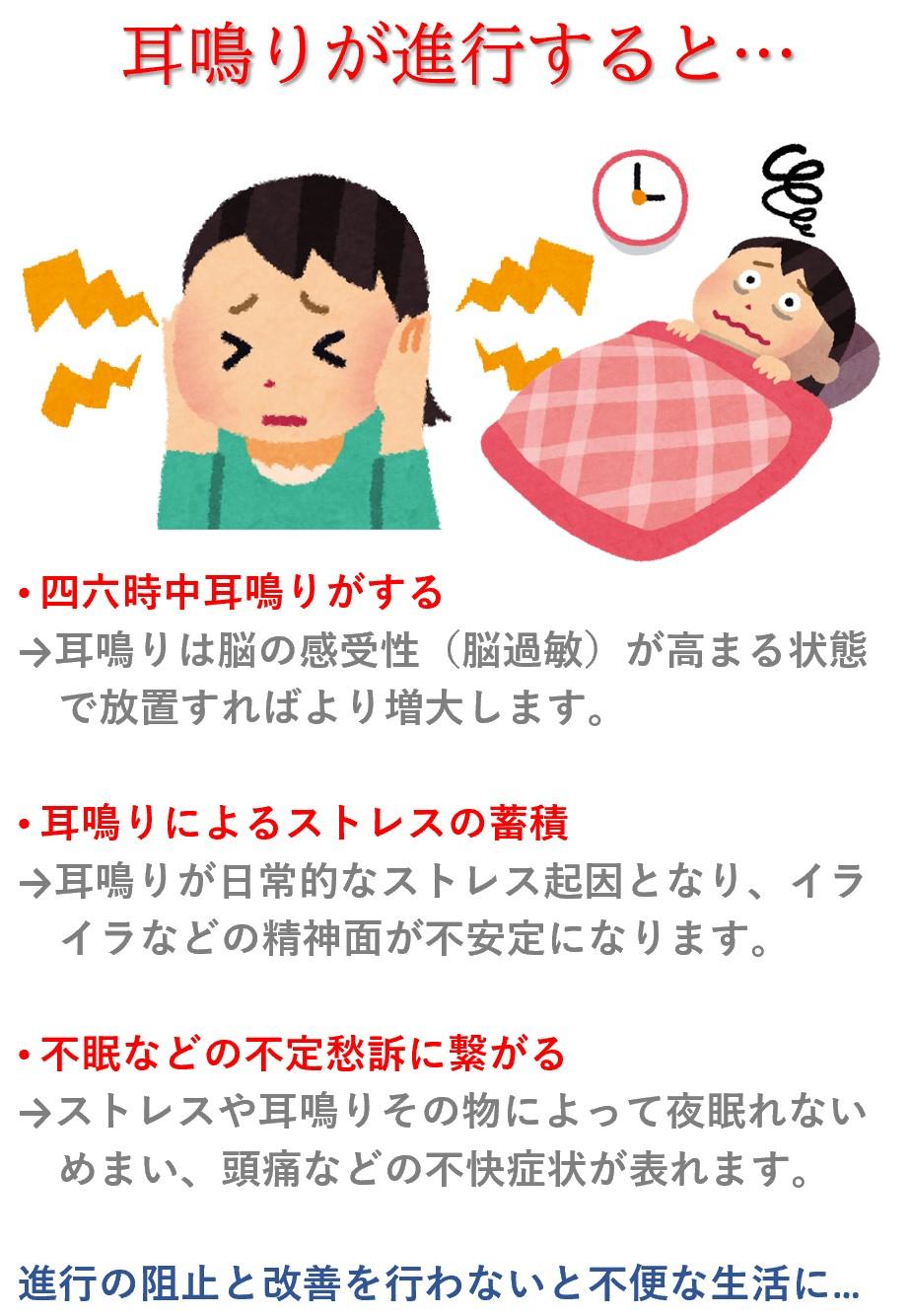 難聴や耳鳴りを放っておくと「脳が聞こえない音を拾う為にどんどん感受性を高めようとして興奮状態が増加する→耳鳴りの増加につながる→ストレスや不眠、気持ちの落ち込みに繋がる可能性がある」