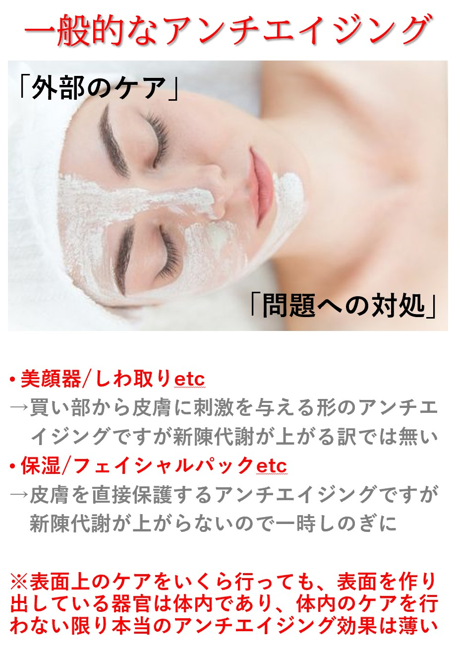 一般的なアンチエイジングは皮膚に対するケアが中心